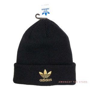 adidas Gold Trefoil & Black Knit Beanie Hat